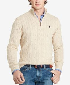 Polo Ralph Lauren Men's Half-Zip Pima Sweater - Sweaters - Men ...