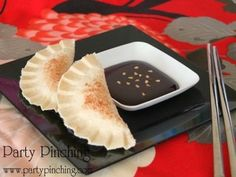 april fools day food potstickers- actually peanut butter sandwich with chocolate dipping sauce
