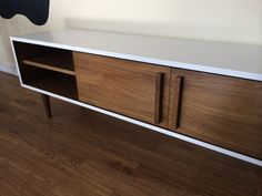 Kasse TV Stand in White / Teak combo by STORnewyork on Etsy