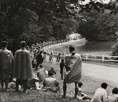 Spectators watching an Olympic cycle race, London, 1948.