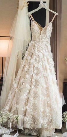 A-Line Wedding Dress,Spaghetti Straps Bridal Dresses,Sweep Train Wedding Dress,Ivory Bridal Gown,Lace Wedding Dress #ivory #wedding #bridal #flowers #princess #okdresses