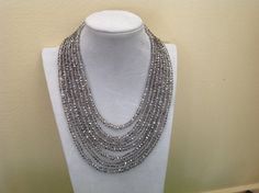 Gorgeous Smoky Crystal Bib Statement by PearlsandCake Fashion Colours, Crystal Necklace, Bling, Pearls, Chain, Crystals, Fun, Handmade, Stuff To Buy