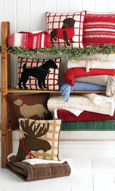 "Decorative pillows and cozy throw blankets put the comfort in ""Comfort & Joy"""