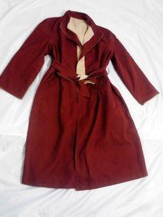 Vintage Etienne Aigner Reversible Coat Burgundy & Beige, Size 14P