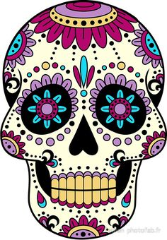 'skull purple' Photographic Print by Fabien photofab. Sugar Skull Artwork, Sugar Skull Painting, Body Painting, Sugar Skull Drawings, Sugar Skull Images, Day Of The Dead Artwork, Day Of The Dead Skull, Mexican Skulls, Mexican Art