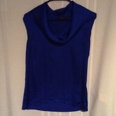 """Silky cowl neck blue tank top Very sleek and stylish blue tank top with cowl neck, front is silky material, back is stretchy rayon spandex blend, will fit up to 38"""" bust, length is 24"""" The Limited Tops Tank Tops"""