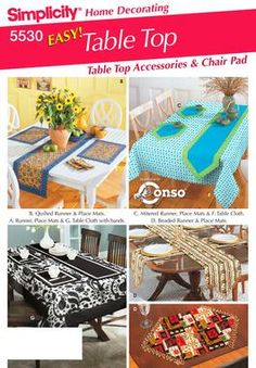 Table Cloths, Table Runners, Chair Covers Sewing Pattern 5530 Simplicity
