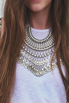 Ethnic Embossed Coin Tassel Chunky Necklace