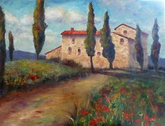 Italian Impressionistic Red Featured Images - Tuscan Home  by Carolyn Jarvis