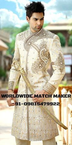 Fantastic outfit, weird expression on the model. Needs a comb. Wedding Men, Wedding Suits, Wedding Attire, Indian Groom Wear, Indian Wear, Indian Style, Mode Masculine, Moda Indiana, Wedding Sherwani