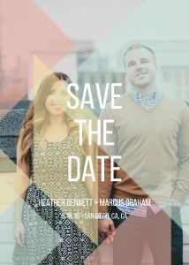 Mixbook Wooden Geometric Save the Date Cards