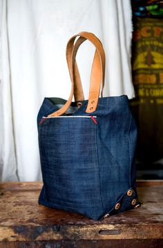 Medium selvedge denim tote bag by HorseAndAnchor on Etsy, $180.00
