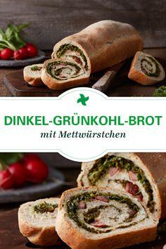 Tolle Idee für Grünkohl! Dinkel-Grünkohl-Brot mit Mettwürstchen. Ein herzhaftes Thermomix ® Rezept mit Grünkohl vom Rezept-Portal Cookidoo ®.