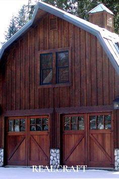 We love how our Carriage Doors perfectly blend into the barn creating a traditional, vintage look! Sliding Garage Doors, Carriage House Garage Doors, Custom Garage Doors, Wooden Garage Doors, Carriage Doors, Custom Garages, House Doors, Entry Doors, Barn Doors