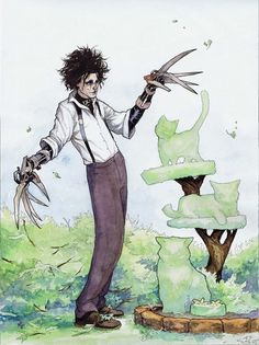 Edward Scissorhands by Meghan Hetrick Tim Burton Stil, Tim Burton Kunst, Tim Burton Art, Tim Burton Personajes, Tim Burton Johnny Depp, Tim Burton Characters, Edward Scissorhands, Illustration, Creepy