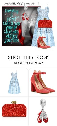 """""""Wizard of Oz: Dorothy. Embellished Shoes Contest"""" by fiona-36 ❤ liked on Polyvore featuring self-portrait, Gianvito Rossi and Judith Leiber"""