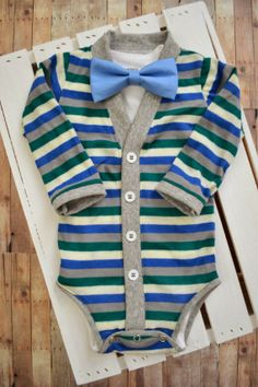 Baby Cardigan Onesie Blue Green Gray Stripe with by TheHumbleLemon Handmade Baby Clothes, Cute Baby Clothes, Baby Boy Fashion, Kids Fashion, Baby Boy Outfits, Kids Outfits, Everything Baby, Baby Cardigan, Baby Time