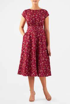 Women's Fashion Clothing and Custom I ♥ this Floral print ruched pleat waist crepe dress from eShakti Trendy Dresses, Modest Dresses, Modest Outfits, Casual Dresses For Women, Cute Dresses, Fashion Dresses, Dresses For Work, Clothes For Women, Modest Clothing