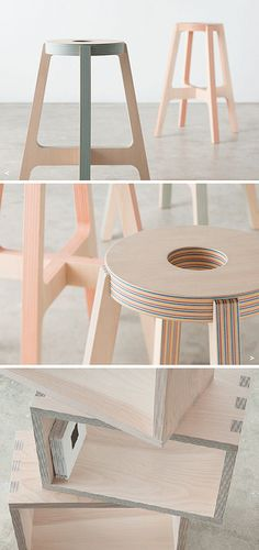 plywood furniture Layers of wood and colorful paper combine to create Drill Designs subtly striped furniture and accessories. The stools are spectacular! Plywood Furniture, Furniture Projects, Furniture Plans, Kids Furniture, Furniture Design, Furniture Stores, Plywood Walls, Paper Furniture, Furniture Websites