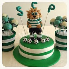 Bolo Jubas - Sporting Cake Bolo Sporting, Happy Birthday, Birthday Cake, Birthday Parties, Football Cupcakes, Sport Cakes, Cake Pops, Sweets, Number 5