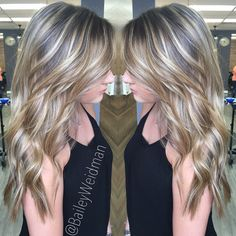 Bright and beautiful balayage highlights on long gorgeous hair.