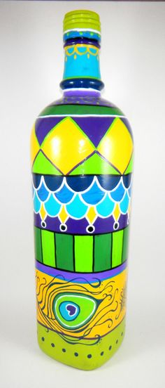 Hand Painted Bottle Light Peacock by ImpulsiveCreativity on Etsy, $75.00