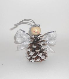 Christmas crafts for kids: Pinecone angel ornaments – DIY by Hanka Pinecone Crafts Kids, Pinecone Ornaments, Christmas Ornament Crafts, Christmas Crafts For Kids, Homemade Christmas, Holiday Crafts, Christmas Diy, Angel Ornaments, Crochet Christmas