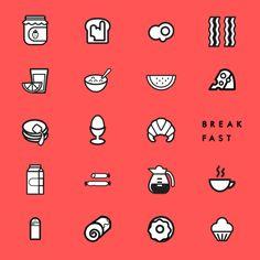 Breakfast icon set.