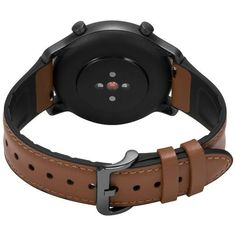 Timex Metropolitan R AMOLED Smartwatch with GPS & Heart Rate 42mm - Black with Brown Leather & Silicone Strap - Overstock - 31431677 Smartwatch Waterproof, Brown Band, Wearable Technology, Iphone Models, Watch Case, Heart Rate, Aluminium Alloy, Watch Bands, Smart Watch