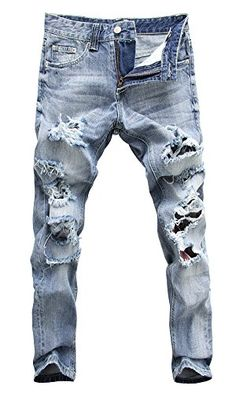 Mens Ripped Hollow Fringe Denim Jeans Slim Trousers Pants Light Blue