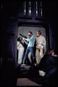 "George Lucas showing Mark Hamil how to kill a Storm Trooper/ ""Star Wars"" (1976)"