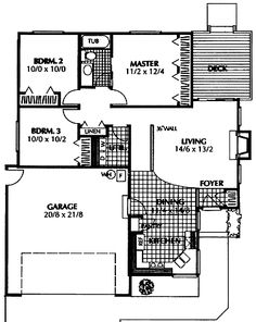Home Plans HOMEPW06970 - 1,072 Square Feet, 3 Bedroom 1 Bathroom Cottage Home with 2 Garage Bays
