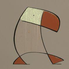 Grote bruine duikers / Big brown puffins (diptych) -      39 x 39 cm -   krijt op papier /  chalk on paper -   2008 - verkocht / sold
