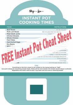 Veggie Cooking Cheat Sheet with FREE printable! Power Pressure Cooker, Instant Pot Pressure Cooker, Pressure Cooker Recipes, Pressure Cooking, Slow Cooker, Best Instant Pot Recipe, Slow Cooked Meals, Hot Pot, Cooking Time