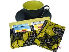 Tea Carrier in green african fabric /  Tea Bag Pouch  by Driworks