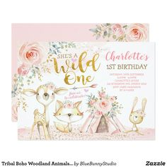 Shop Boho Woodland Forest Pink Gold Floral Baby Shower Invitation created by BlueBunnyStudio. 2nd Birthday Invitations, Pink Invitations, Sprinkle Invitations, Floral Invitation, Wedding Invitations, Chalkboard Invitation, Gender Reveal Invitations, Birthday Banners, Printable Invitations