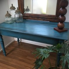 """Emma- Painted Furniture on Instagram: """"Commissioned Hall Table finished and ready to go to its home.💙💚💙Custom ASCP mix of Aubusson and Florence with black wax to create depth…"""" Annie Sloan Chalk Paint And Wax, Ready To Go, Florence, Painted Furniture, Brave, Entryway Tables, It Is Finished, Antiques, Vintage"""