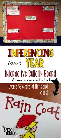 Work on inferring each day! This BEST SELLING interactive bulletin board activity is a great way to easy integrate inferencing into your student's day! Over 52 weeks of clues and items and monthly suggestions.$
