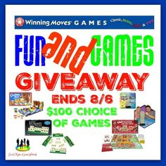 Winning Moves Fun and Games Giveaway   One (1) winner receives $100 choice of games! So what games would you choose if you won? You are not eligible if you have won a prize from this sponsor in the last 12 months. This Giveaway is valid in the United States Only and Entrants must be 18+ years of age to enter. This giveaway event will end at 11:59 PM (EST) 8/6/18.
