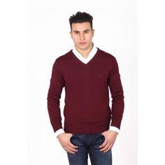 Versace Men's V Neck Wool Sweater BORDEAUX #Versace #VNeck