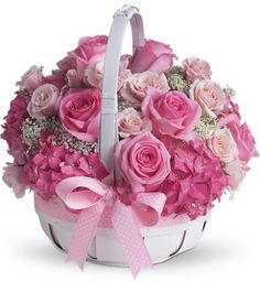 So Sweet!!! Darling basket of Pink roses, Light Pink Spray Roses Hydrangea and babies breath to welcome the New Little One