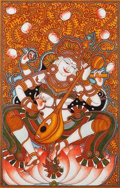 Saraswaty sitting in white lotus Mural Paintings, India (via curocarte.com)