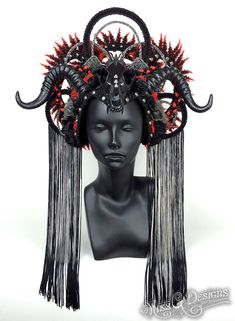 Awaken your inner Goddess with Miss G Design's handmade headdress collection. Horns Costume, Cosplay Horns, Demon Costume, Shrek Costume, Dark Costumes, Black Fairy, Monster Mask, Horn Headband, Queen Outfit