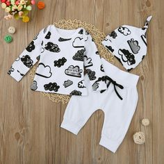 Newborn Infant Baby Girl Boy Cloud Print T Shirt Tops+Pants Outfits Clothes Set Toddler Outfits, Baby Boy Outfits, Kids Outfits, Summer Outfits, Pants Outfit, Outfit Sets, Romper Pants, Baby Boy Swag, Baby Boys