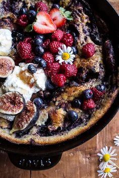 Blueberry Chamomile Dutch Baby with Honeycomb Ricotta