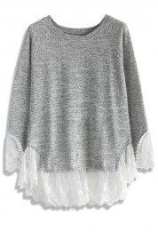 Lace Trimmed Knit Top in Grey