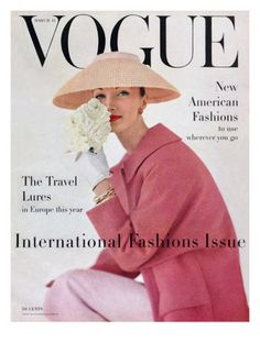 Vogue Cover - March 1956 Giclée-Premiumdruck von Karen Radkai - AllPosters.at
