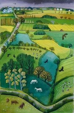 Folk Art Country Scene - Two White Horses - Century Work from Carry Akroyd in the UK! silhouette of the countryside! Landscape Art, Landscape Paintings, Illustrations, Illustration Art, Art Gallery, Henri Rousseau, Naive Art, Banksy, Painting Inspiration
