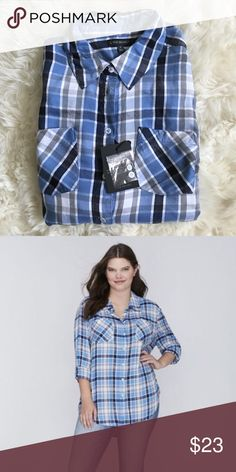 NWT lane Bryant blue plaid boyfriend top Sz 16 New top from lane Bryant. Sz 16- boyfriend top so it fits looser. Sleeves can be worn up or down. Lane Bryant Tops Button Down Shirts