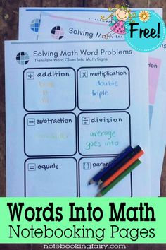 Words Into Math Note